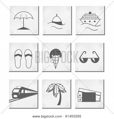 Travel And Vacation Icons Set . In Gray Colors