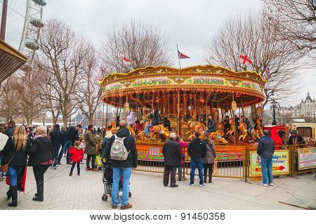 Carousel At The Thames Riverbank In London