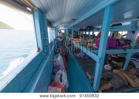 Interior Of Passenger Ferry Boat In Indonesia