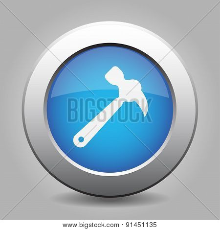 Blue Metal Button With Claw Hammer