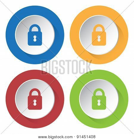 Set Of Four Icons With Closed Padlock