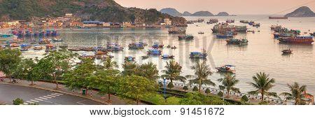 Cat Ba island colourful boats
