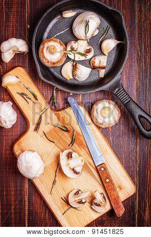Mushrooms On A Cutting