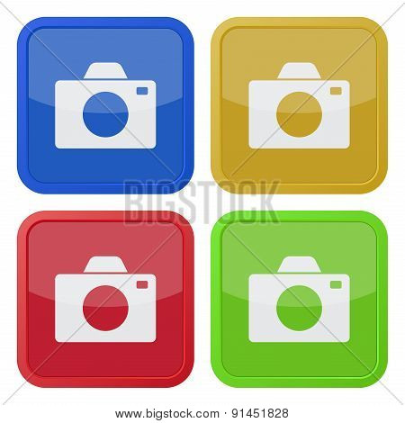Set Of Four Square Icons With Camera