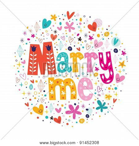 Marry me retro typography lettering decorative text design