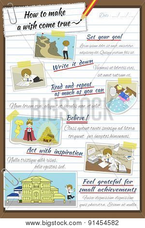How To Make A Wish Come True Infographic Template Design In Notebook Paper Background With Sample Te