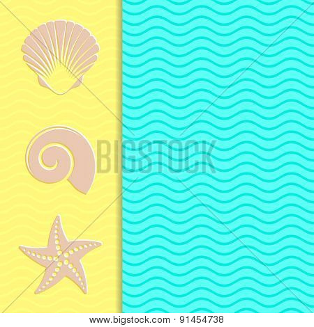 Vintage Card With Sea Icons