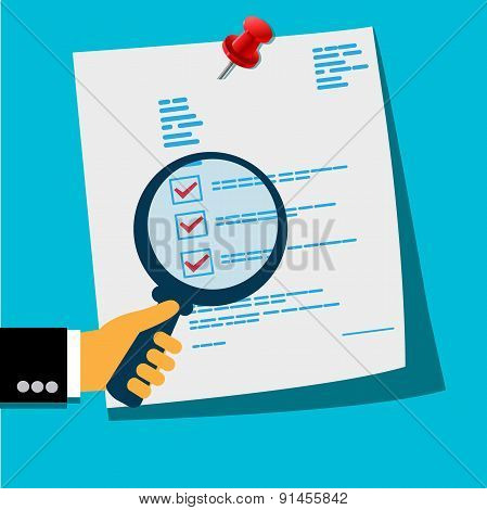 document analysis, vector, illustration
