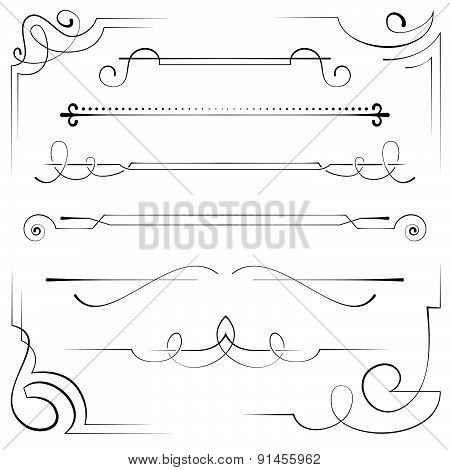 Set Of Vector Corners And Bookplate
