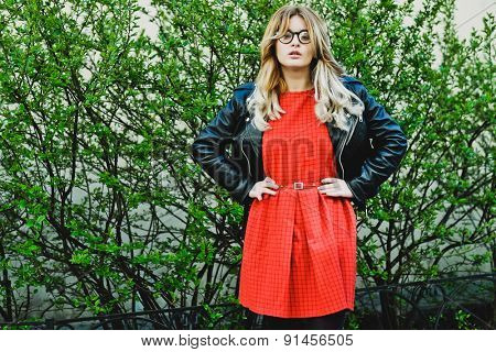 fashion hipster portrait of young beautiful blonde woman posing outdoor in summer