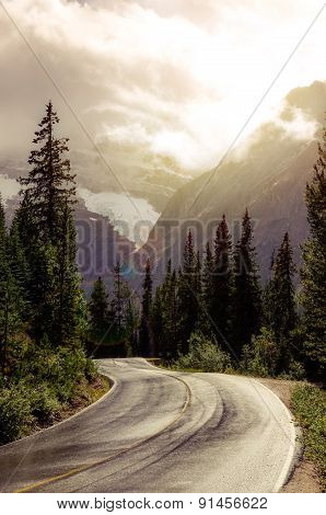 Mountain Road In Backlight With Dreamy Filtered Effect