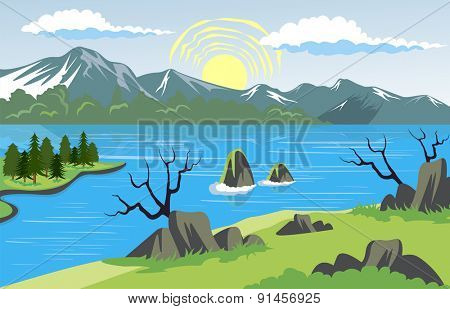 Illustration of beauty landscape with lake and mountain background
