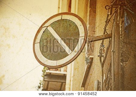 No Parking Sign In Vintage Tone