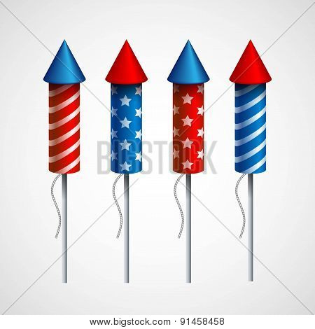 Set of pyrotechnic rockets. Vector illustration