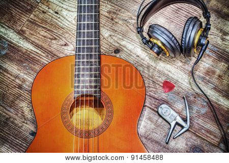 Classic Guitar And Headphones In Hdr
