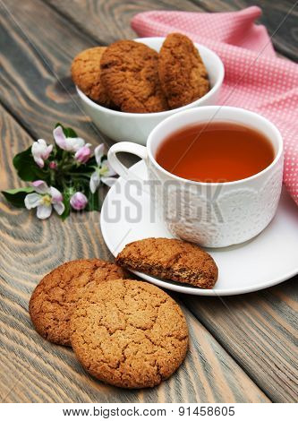 Cup Of Tea With Oatmeal Cookies