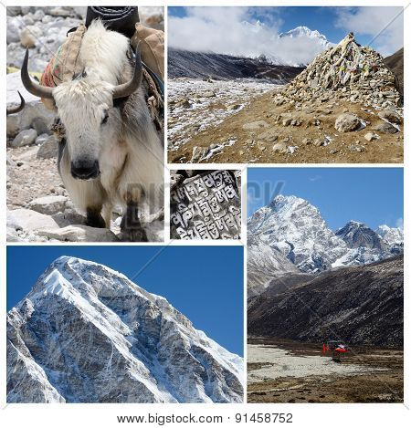 Collage Of Popular Nepalese High Altitude Touristic Route - Everest Base Camp Trek, Himalayas