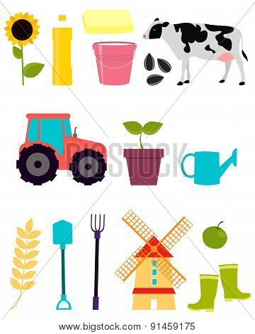 Set agriculture. Tractor, mill and food. Vector illustration