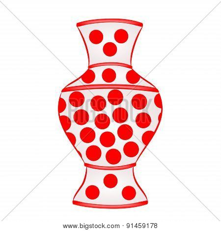 Vase With Red Dots Vector
