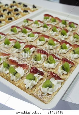 Cocktail Party Canape Fruit Desert Cream Tray Concept