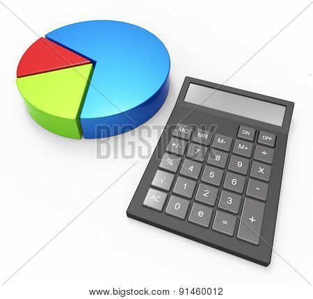 Pie Chart Calculation Indicates Business Graph And Accounting