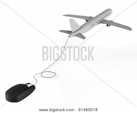 Online Flights Represents World Wide Web And Aeroplane