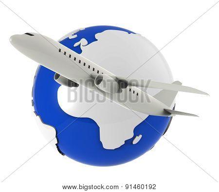 Worldwide Flights Represents Travel Plane And Airplane