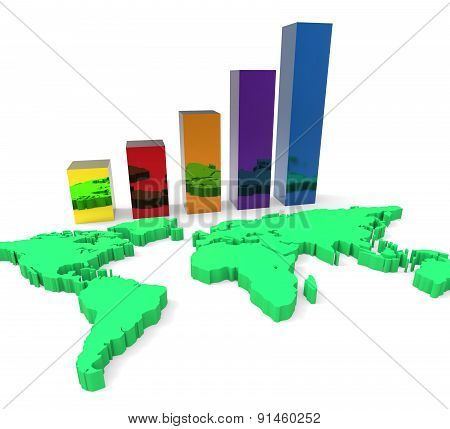World Wide Growth Means Up Development And Rise
