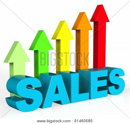Increase Sales Shows Success Trading And Improvement