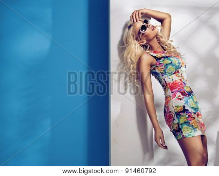 Stunning young blonde model posing