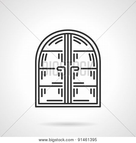 Arc window black line vector icon
