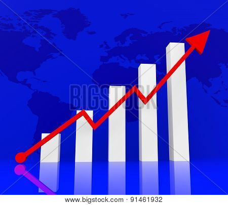 Graph Increasing Indicates Financial Report And Diagram