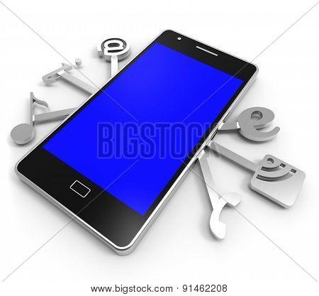 Social Media Phone Represents News Feed And Application