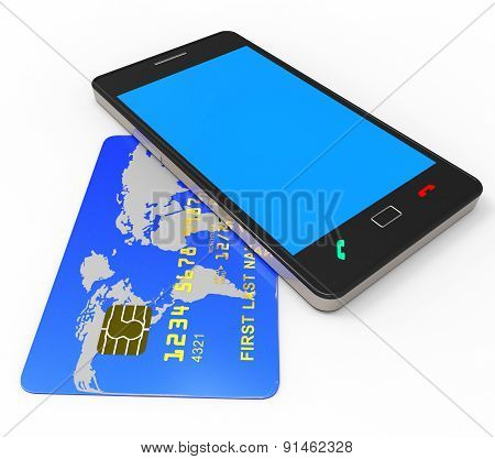 Credit Card Online Represents World Wide Web And Bought