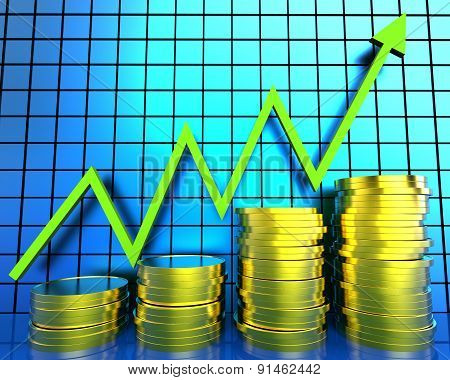 Increase Cash Graph Means Financial Report And Advance