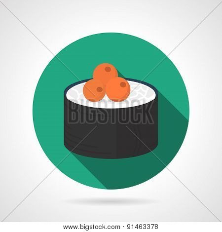 Sushi roll flat vector icon