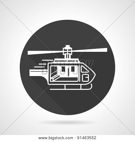 Helicopter black round vector icon