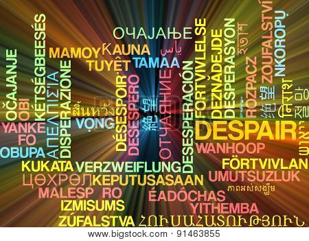 Background concept wordcloud multilanguage international many language illustration of despair glowing light