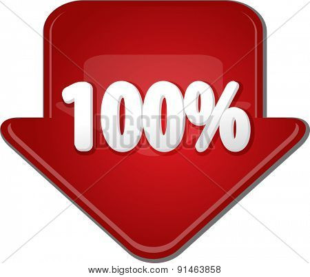 Downward glossy red arrow percent discount one hundred 100