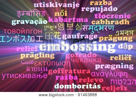Background concept wordcloud multilanguage international many language illustration of embossing glowing light