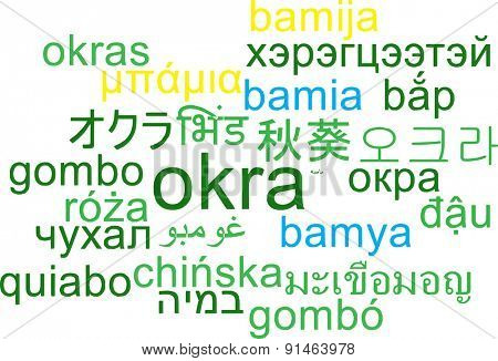 Background concept wordcloud multilanguage international many language illustration of okra