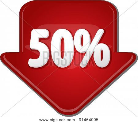 Downward glossy red arrow percent discount fifty 50
