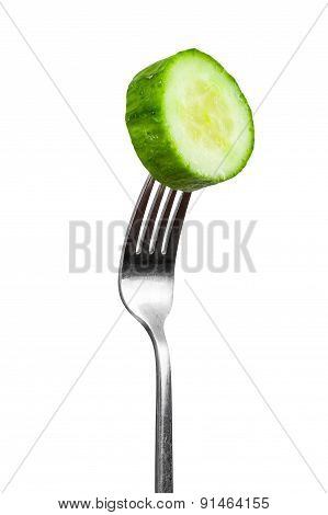 Slice Of Cucumber On A Fork