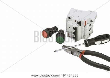 Electricity Components. Switch, Tools