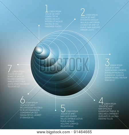 Circles pattern with the reflection of environment on blurred background, 3D pyramid infographic vec