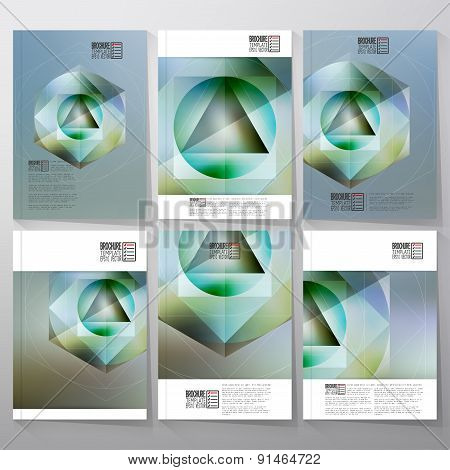 Polygon figure with the reflection, minimalistic geometric crystal on blurred background. Brochure,