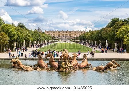 Fountain Of Apollo In Garden Of Versailles Palace