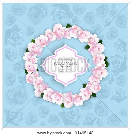 Marriage invitation card with place for text and pink flowers over blue shabby background, vector il