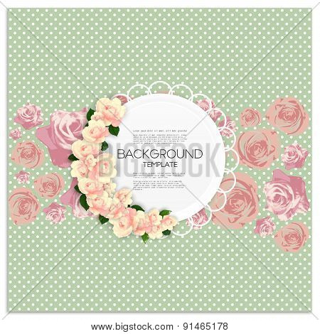 Invitation card with place for text and pink flowers over green dotted background, vector illustrati