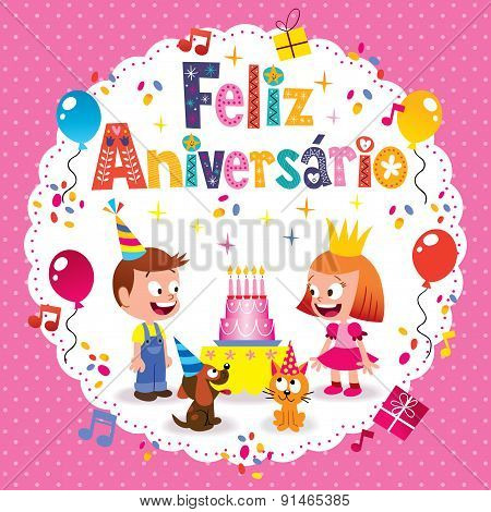 Feliz Aniversario Brazilian Portuguese Happy Birthday kids card